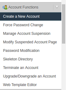 New Account Menu in WHM
