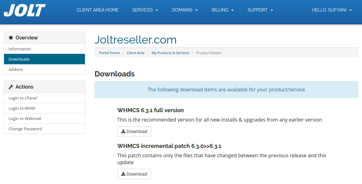 Download WHMCS from Client Area in Jolt